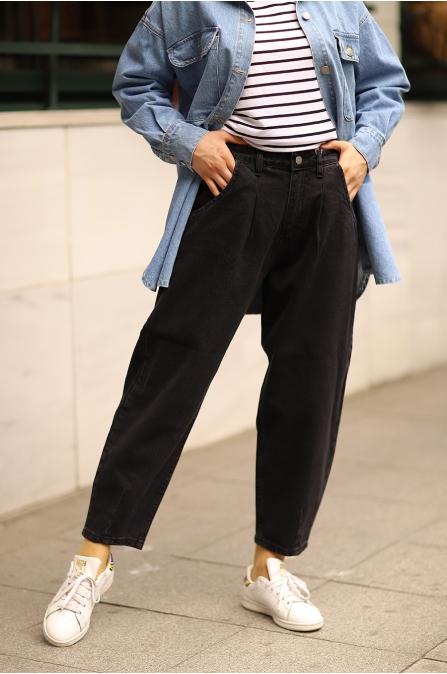 Yüksek Bel Mom Jean Siyah Pantolon