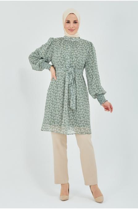 Beli Bağcıklı Tunik Pantolon Tesettür Takım - Yeşil