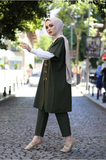 Ceket Pantolon Bluz Tesettür Kombin - Haki