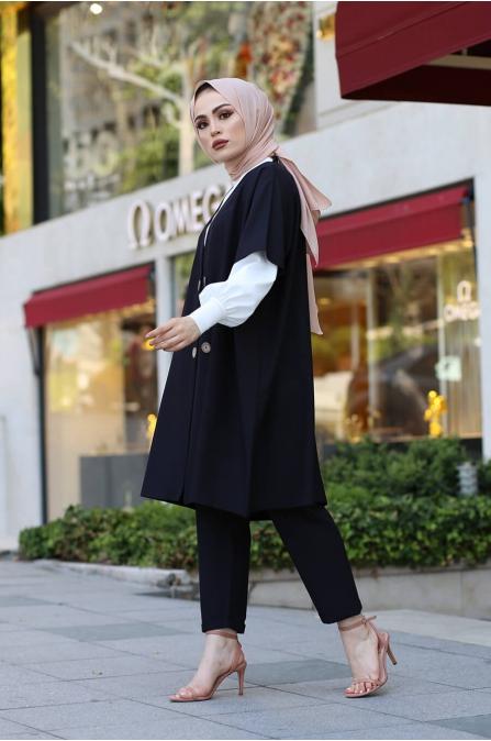 Ceket Pantolon Bluz Tesettür Kombin - Siyah