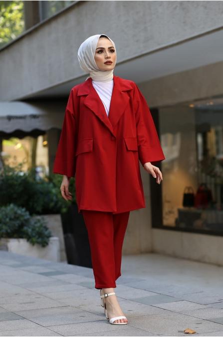 Ceket Pantolon Tesettür Takım - Bordo