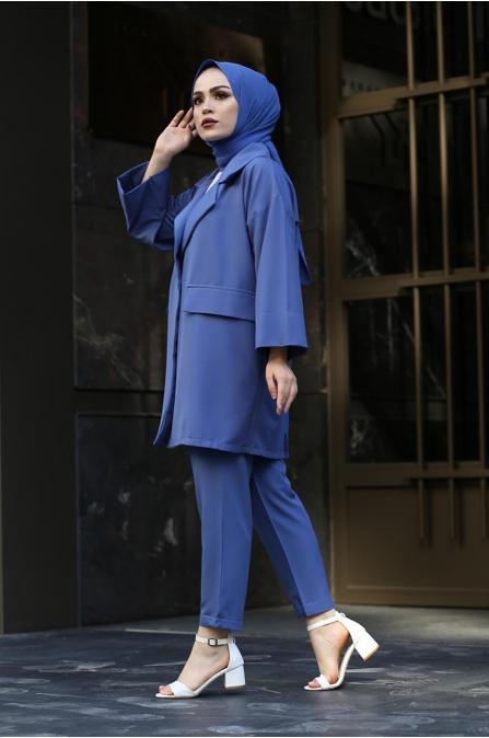 Ceket Pantolon Tesettür Takım - İndigo