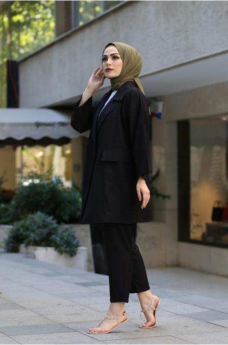 Ceket Pantolon Tesettür Takım - Siyah