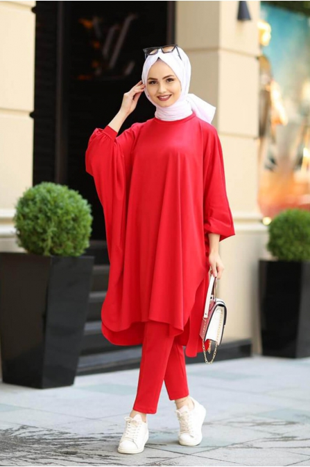 Salaş Tunik Pantolon Kombin - Kırmızı