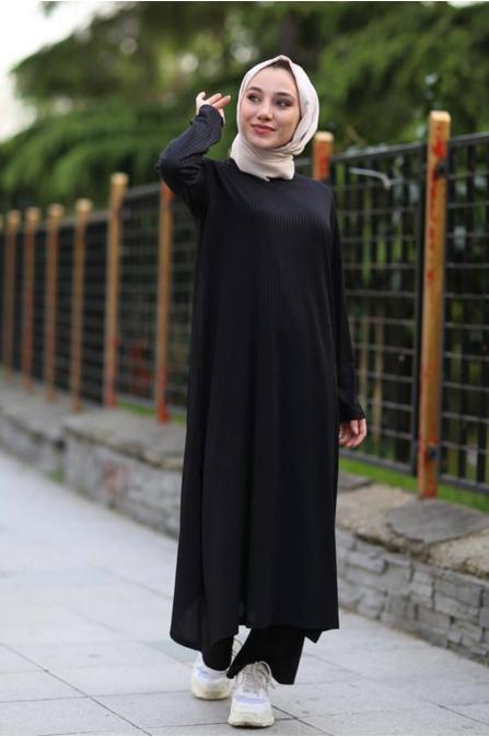Yırtmaç Detaylı Tunik Pantolon Takım - Siyah