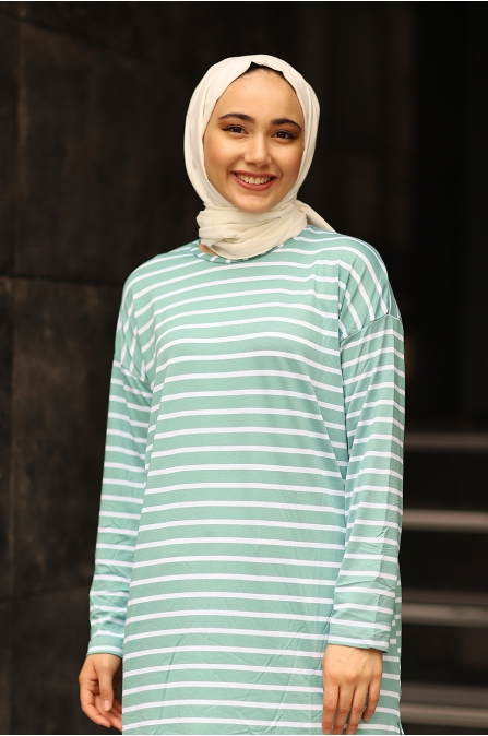 Mint Çizgili Basic Tunik