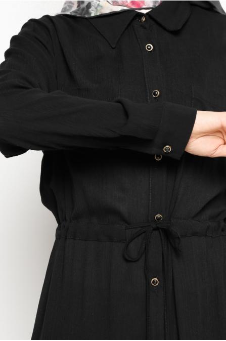 Düğmeli Tunik - Siyah - Zernişan