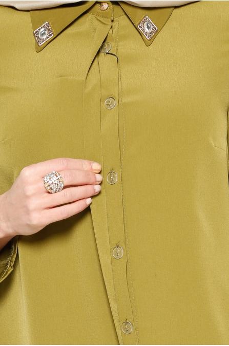 Gizli Düğmeli Tunik - Yeşil - Zernişan