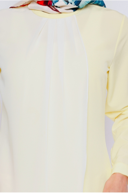Şifon Detaylı Tunik - Sarı - Zernişan