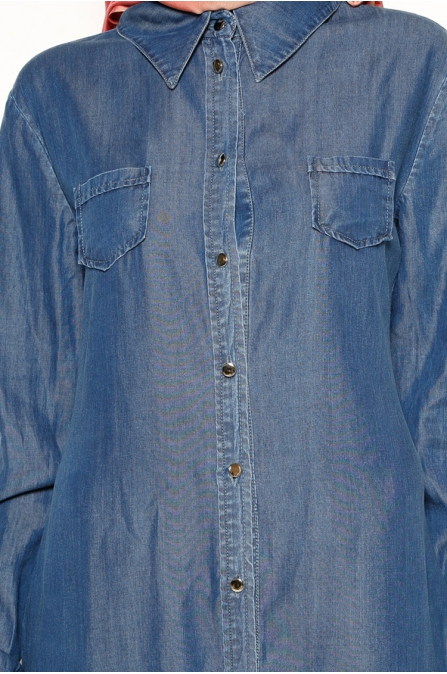 Düğmeli Tunik - Mavi